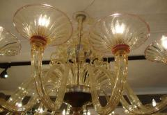 Rare large 1970 Murano blown glass chandelier - 904435