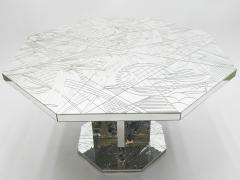 Rare mirror mosaic dining table signed by Eugene C 1980s - 1081939