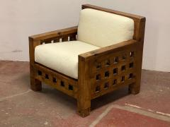 Rarest brutalist pair of sturdy lounge chair upholstored in wool faux fur - 1904184