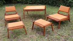 Rarest complete teak hunting chairs and ottoman set in vintage condition - 1179608