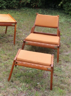 Rarest complete teak hunting chairs and ottoman set in vintage condition - 1179615