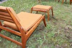 Rarest complete teak hunting chairs and ottoman set in vintage condition - 1179620