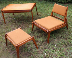 Rarest complete teak hunting chairs and ottoman set in vintage condition - 1179623