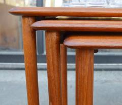 Rasmus Solberg Lovely Set of 3 Solid Teak Knife Edge Nesting Tables by Rasmus Solberg - 2067989