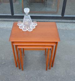 Rasmus Solberg Lovely Set of 3 Solid Teak Knife Edge Nesting Tables by Rasmus Solberg - 2067998