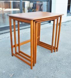 Rasmus Solberg Lovely Set of 3 Solid Teak Knife Edge Nesting Tables by Rasmus Solberg - 2068005