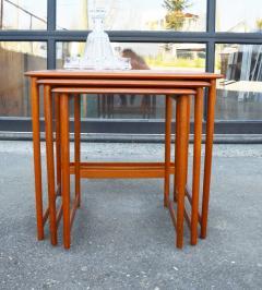 Rasmus Solberg Lovely Set of 3 Solid Teak Knife Edge Nesting Tables by Rasmus Solberg - 2068006