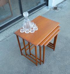 Rasmus Solberg Lovely Set of 3 Solid Teak Knife Edge Nesting Tables by Rasmus Solberg - 2068019