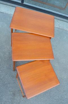 Rasmus Solberg Lovely Set of 3 Solid Teak Knife Edge Nesting Tables by Rasmus Solberg - 2068040