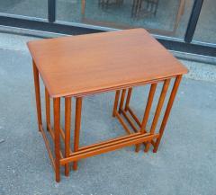 Rasmus Solberg Lovely Set of 3 Solid Teak Knife Edge Nesting Tables by Rasmus Solberg - 2068051