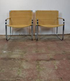 Rattan Chrome Lounge Chairs by Milo Baughman - 1101594