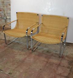 Rattan Chrome Lounge Chairs by Milo Baughman - 1101597