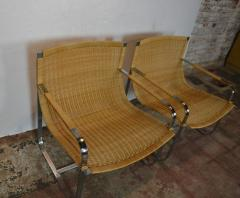 Rattan Chrome Lounge Chairs by Milo Baughman - 1101600