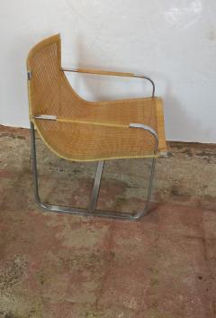 Rattan Chrome Lounge Chairs by Milo Baughman - 1101605