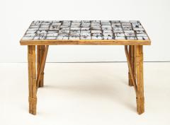 Rattan Dining Table with a Ceramic Tile Top France c 1950 - 1895924