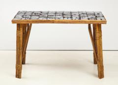 Rattan Dining Table with a Ceramic Tile Top France c 1950 - 1895925