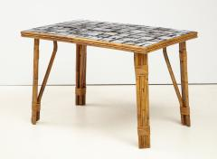 Rattan Dining Table with a Ceramic Tile Top France c 1950 - 1895926