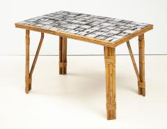 Rattan Dining Table with a Ceramic Tile Top France c 1950 - 1895927