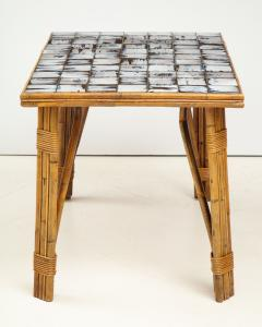 Rattan Dining Table with a Ceramic Tile Top France c 1950 - 1895928