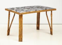 Rattan Dining Table with a Ceramic Tile Top France c 1950 - 1895930