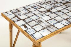 Rattan Dining Table with a Ceramic Tile Top France c 1950 - 1895932