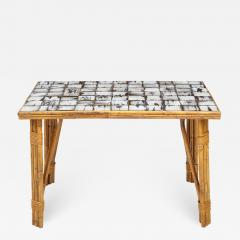 Rattan Dining Table with a Ceramic Tile Top France c 1950 - 1898895