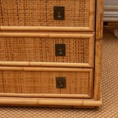 Rattan Dresser with Brass Campaign Style Hardware - 1100161