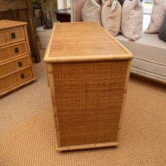 Rattan Dresser with Brass Campaign Style Hardware - 1100163