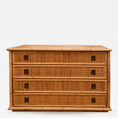 Rattan Dresser with Brass Campaign Style Hardware - 1100935