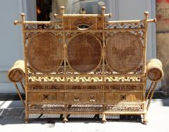 Rattan caned sofa with fine decor France or Asia circa 1930 - 1065612