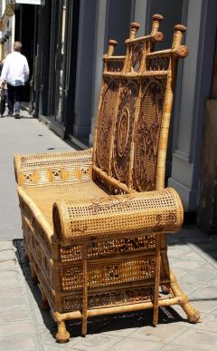 Rattan caned sofa with fine decor France or Asia circa 1930 - 1065615
