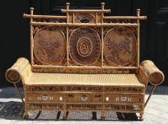 Rattan caned sofa with fine decor France or Asia circa 1930 - 1065616