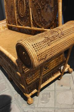 Rattan caned sofa with fine decor France or Asia circa 1930 - 1065617