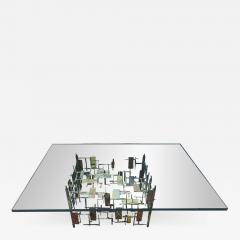 Ray Bergere Fabulous Silas Seandel Style Brutalist Mixed Metal Nail Coffee Table Mid Century - 980824