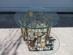 Ray Bergere Silas Seandel Style Brutalist Mixed Metal Nail Side End Table Mid Century - 979351