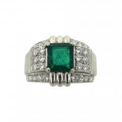 Raymond C Yard ART DECO RAYMOND YARD EMERALD DIAMOND PLATINUM RING - 1096341