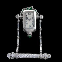 Raymond C Yard Raymond Yard Art Deco Diamond Emerald and Platinum Watch Brooch - 873905