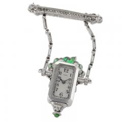 Raymond C Yard Raymond Yard Art Deco Diamond Emerald and Platinum Watch Brooch - 873906