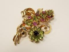 Raymond C Yard Raymond Yard Retro Peridot Pink Sapphire Amethyst and Gold Flower Brooch - 1054119