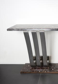 Raymond Subes 1930s Art Deco Style Marble Stainless Steel Console Designed by Raymond Subes - 976423