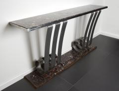 Raymond Subes 1930s Art Deco Style Marble Stainless Steel Console Designed by Raymond Subes - 976424