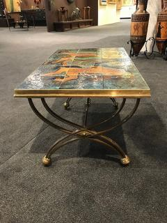 Raymond Subes BRONZE LOW TABLE IN THE MANNER OF RAYMOND SUBES DECORATED WITH A CERAMIC TOP - 1911445