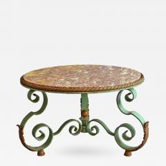 Raymond Subes Fine French Art Deco Wrought Iron and Marble Top Coffee Table by Raymond Subes - 422371