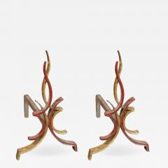 Raymond Subes Pair of 1940s Flamme andirons by Raymond Subes - 856269