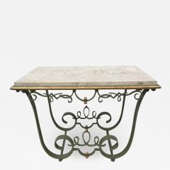 Raymond Subes Raymond Subes Attributed Iron and Gilt Marble Table - 1785187