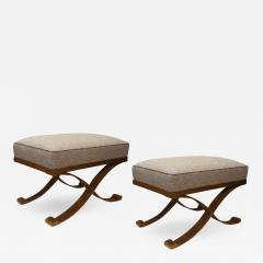 Raymond Subes Raymond Subes pair of gold leaf wrought iron stools - 1090954
