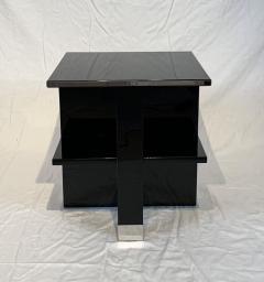 Rectangular Sofa Table Black Lacquer and Nickel France circa 1930 - 1730235