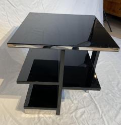 Rectangular Sofa Table Black Lacquer and Nickel France circa 1930 - 1730284