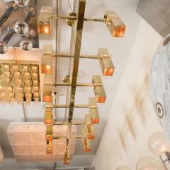 Rectilinear Brass Fourteen Light Chandelier - 375958