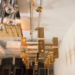 Rectilinear Brass Fourteen Light Chandelier - 375959